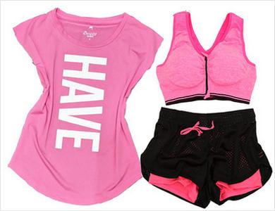 瑜伽服套装运动健身房服装三件套夏