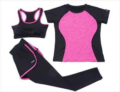 显瘦跑步服假二件套健身房运动裤